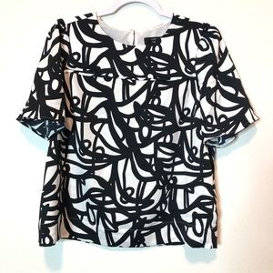 J crew 365 black and white satin top size 6